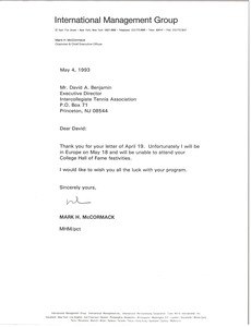 Thumbnail of Letter from Mark H. McCormack to David A. Benjamin