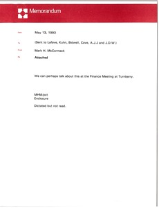 Thumbnail of Memorandum from Mark H. McCormack concerning an attachment about financing in the international capital markets