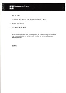 Thumbnail of Memorandum from Mark H. McCormack to Ian T. Todd, Eric Drossart, John D. Webber, and Peter A. Kuhn