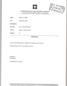 Thumbnail of Fax from Mark H. McCormack to Michelle Lane