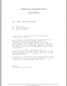 Thumbnail of Fax from Mark H. McCormack to Phil Knight
