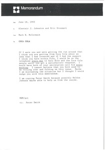 Thumbnail of Memorandum from Mark H. McCormack to Alastair Johnston and Eric Drossart