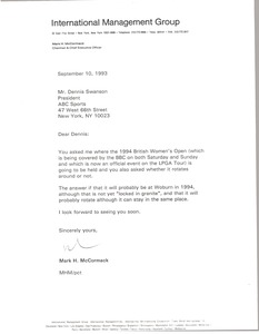Thumbnail of Letter from Mark H. McCormack to Dennis Swanson
