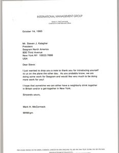 Thumbnail of Letter from Mark H. McCormack to Stephen J. Kalagher