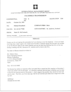 Thumbnail of Fax from Mark H. McCormack to Michael Bonallack