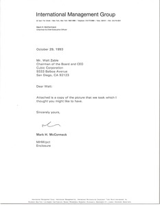 Thumbnail of Letter from Mark H. McCormack to Walt Zable