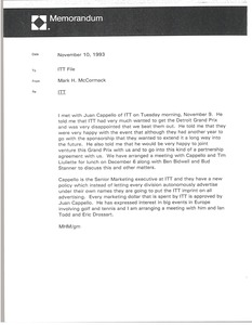 Thumbnail of Memorandum from Mark H. McCormack to ITT file