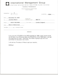 Thumbnail of Fax from Mark H. McCormack to Jonathan Martin