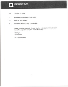 Thumbnail of Memorandum from Mark H. McCormack to Breck McCormack and Peter Smith