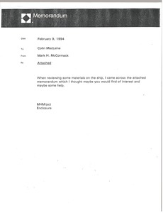 Thumbnail of Memorandum from Mark H. McCormack to Colin MacLaine
