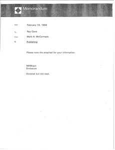 Thumbnail of Memorandum from Mark H. McCormack to Ray Cave