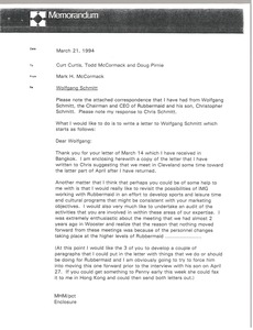 Thumbnail of Memorandum from Mark H. McCormack to Curt Curtis, Todd McCormack and Doug Pirnie