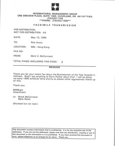 Thumbnail of Fax from Mark H. McCormack to Rick Avory