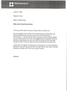 Memorandum from Mark H. McCormack to Robert D. Kain
