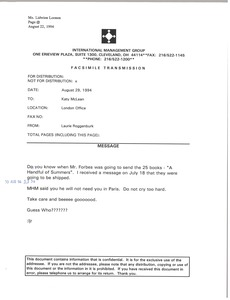 Thumbnail of Fax from Laurie Roggenburk to Katy McLean