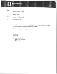 Thumbnail of Memorandum from Mark H. McCormack to Alvin Chriss