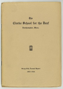 Thumbnail of Sixty-Fifth Annual Report of the Clarke School for the Deaf, 1931-1932