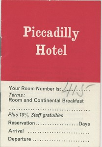 Thumbnail of Piccadilly hotel booklet
