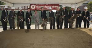 Thumbnail of Groundbreaking of the Integrated Science Building, UMass Amherst: cereminal             first shovel of dirt Group includes (left to right): Congressman Richard Neal (4th from left),             UMass President Jack Wilson (6th), UMass Amherst Chancellor John Lombardi (7th), Senator             Ted Kennedy (8th), Congressman John W. Olver (9th)