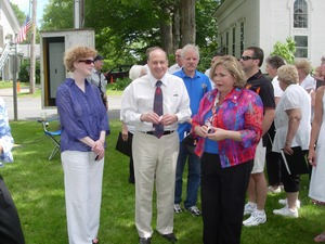 Thumbnail of 250th anniversary celebrations, Belchertown, Mass.             Mass. State Senator Stanley Rosenberg with constituents