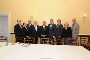 Thumbnail of Massachusetts delegation Includes: Rep. Mike Capuano, unidentified, Jim McGovern, Barney Frank, Gov. Deval Patrick,             Ed Markey, John Tierney, Niki Tsongas, John W. Olver