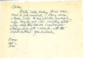 Thumbnail of Note from Carl Henry to Edith Henry