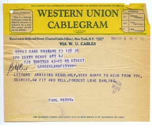 Thumbnail of Cablegram from Carl Henry to Edith Henry