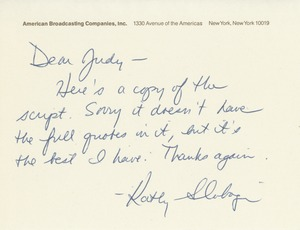 Thumbnail of Letter from Kathy Slobogin to Judi Chamberlin