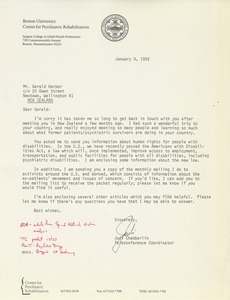 Thumbnail of Letter from Judi Chamberlin to Gerald Harper