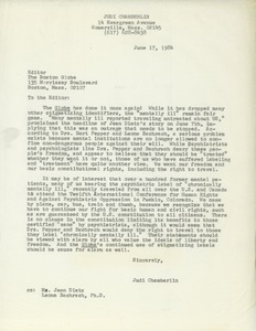 Thumbnail of Letter from Judi Chamberlin to Editor of the Boston Globe