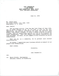 Thumbnail of Letter from Judi Chamberlin to Justin Dart