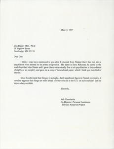 Thumbnail of Letter from Judi Chamberlin to Dan Fisher