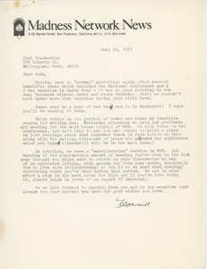 Thumbnail of Letter from Leonard Roy Frank to Judi Chamberlin