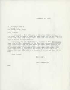 Letter from Judi Chamberlin to Kirsten Hinsdale