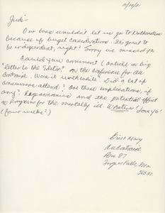 Thumbnail of Letter from Bill Johnson and Mary Olympia to Judi Chamberlin