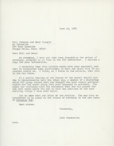 Thumbnail of Letter from Judi Chamberlin to Bill Johnson and Mary Olympia