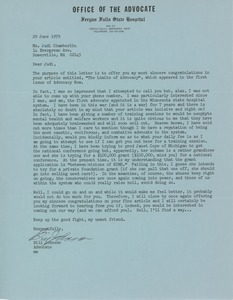 Thumbnail of Letter from Bill Johnson to Judi Chamberlin