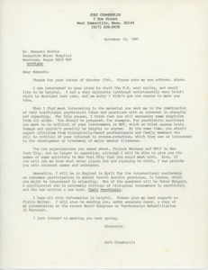 Thumbnail of Letter from Judi Chamberlin to Ken Keddie