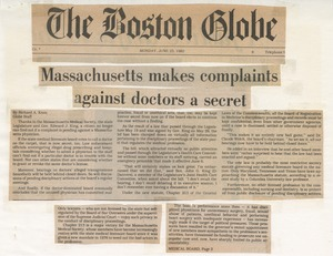 Thumbnail of Massachusetts makes complaints against doctors a secret