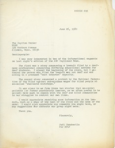 Thumbnail of Letter from Judi Chamberlin to caption center
