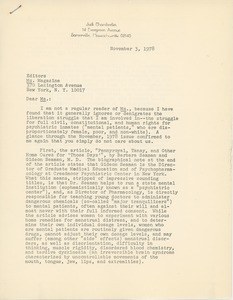 Thumbnail of Letter from Judi Chamberlin to Editor of Ms. magazine