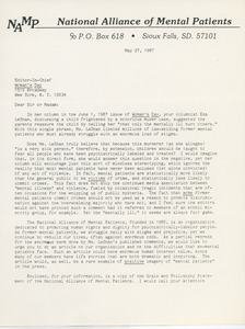 Thumbnail of Letter from Judi Chamberlin to Editor of Woman's Day