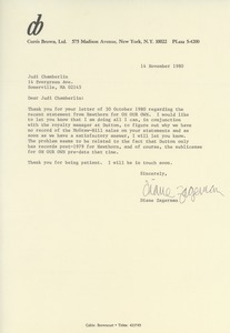 Thumbnail of Letter from Diane Zagerman to Judi Chamberlin