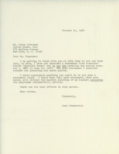 Thumbnail of Letter from Judi Chamberlin to Diane Zagerman