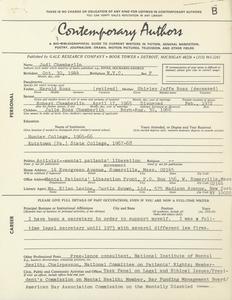 'Contemporary Authors' questionnaire