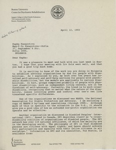 Thumbnail of Letter from Judi Chamberlin to Kapka Panayotova