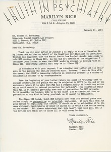 Thumbnail of Letter from Marilyn Rice to Norman S. Rosenberg