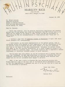 Thumbnail of Letter from Marilyn Rice to Robert Kennedy