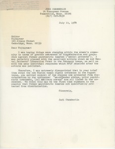Thumbnail of Letter from Judi Chamberlin to Sojourner