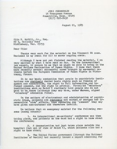 Thumbnail of Letter from Judi Chamberlin to Olin R. McGill